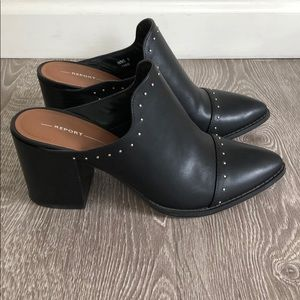 Like New Black Studded Mules
